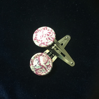 Dorset Singleton Button Hair Clips, Pair, Liberty Print 'Chive'