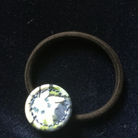 Dorset Singleton Button Hair Elastic Band, Liberty Print 'Thorpe'