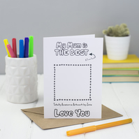 Love you Mum Colouring Card - Can be personalisd