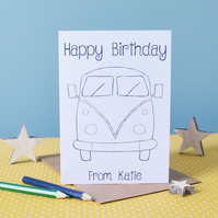 Happy Birthday Campervan Colouring In Card - Personalised