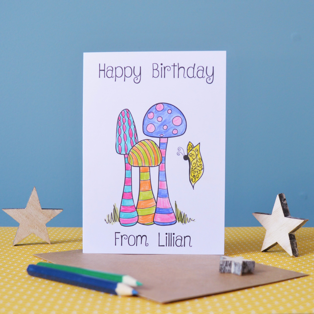 Happy Birthday Toadstool Colouring In Card - Personalised