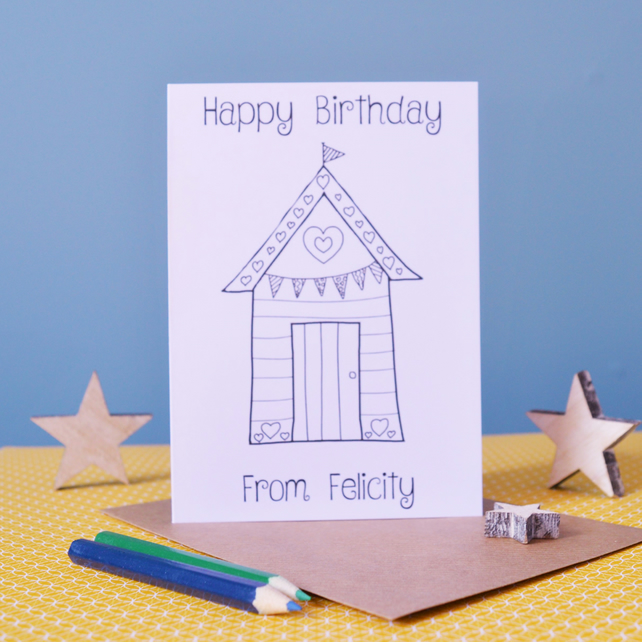 Happy Birthday Beach Hut Colouring In Card - Personalised