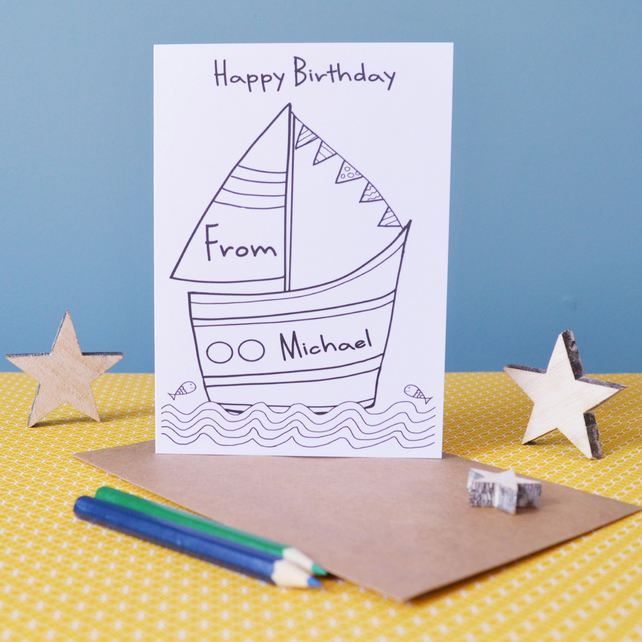 Happy Birthday Sail Boat Colouring In Card - Personalised