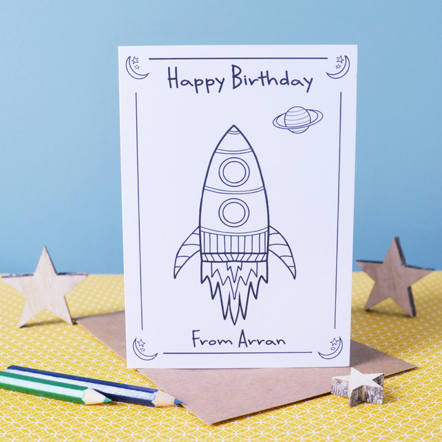 Happy Birthday Rocket Colouring In Card - Personalised