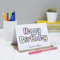 Personalised Happy Birthday Colouring in Card