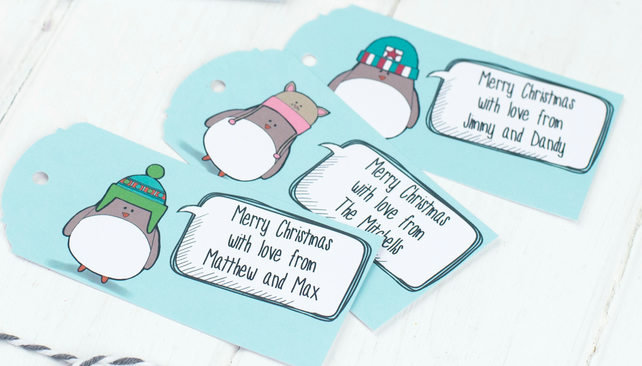 Set of 10 Personalised Robin Gift Tags