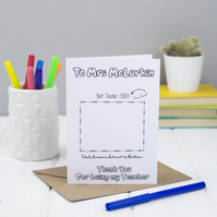 Personalised Thank You Teacher Card