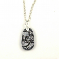 Silver love heart dichroic kiln fired fused glass pendant, chain and gift box