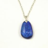 Blue Dichroic Fused Glass pendant, Gift Box and Chain