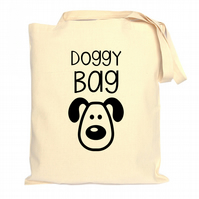 Doggy Bag Tote Bag - Dog Owner Gift - Cotton - Black Print - CST105