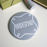 Bridesmaid Pocket Mirror - Grey