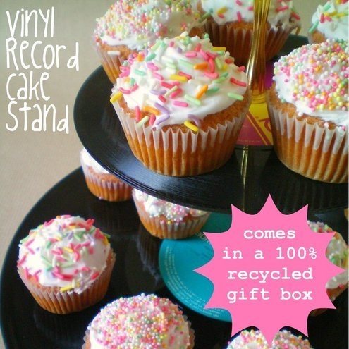 FINAL REDUCTION: Recycled Vinyl Record Cake Stand
