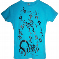 Headphones Ladies T Shirt