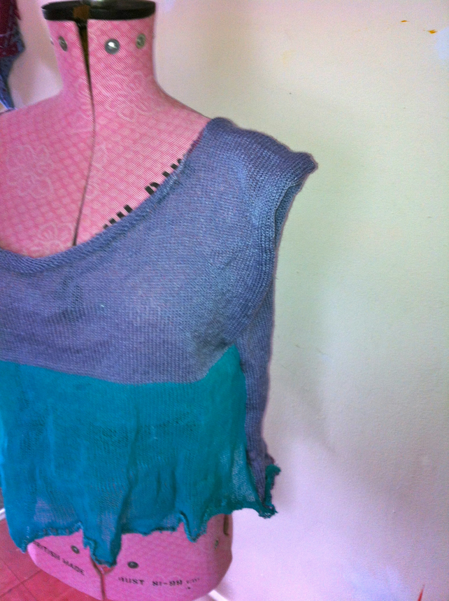 fine knit lilac and turquoise loose wide neck loose top