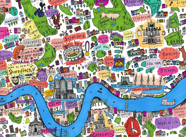a4 illustrated map of east and south east london