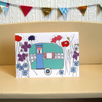 Retro Caravan greeting card