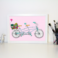 Tandem Bicycle A4 Art Print
