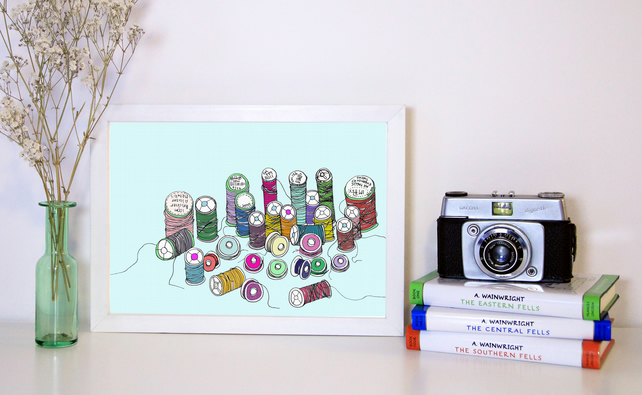 Spools of thread, a collection. A4 Archival Print