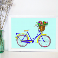 Bicycle illustration - blue bicycle with flowers in basket