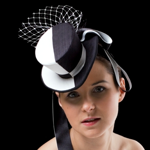 Black and white mini top hat