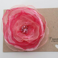 Flower Hair Clip in Pink Organza