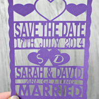 Save the Date papercut with initials in hearts