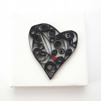 Black Quilled Heart Mini Canvas