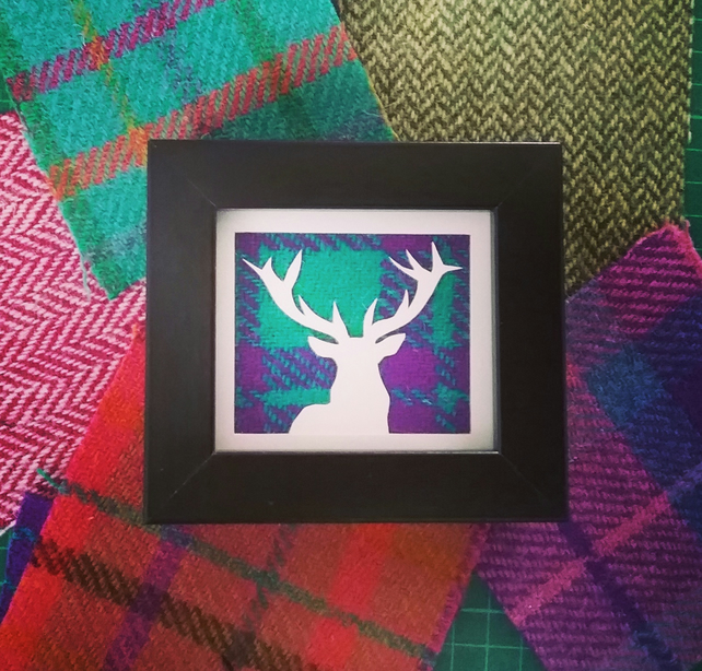 Scottish Stag papercut with Harris Tweed background