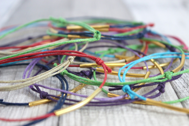 Golden Tube Corded Bracelet