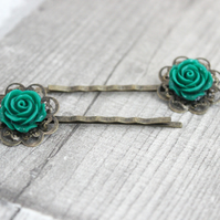 Green Flower Hair Accessory