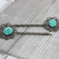 Mint Flower Hair Accessory