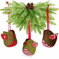 Tweedy Pie ROBIN Christmas Decoration EASY Paper Sewing PATTERN & Instructions.