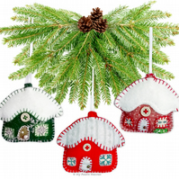 Snowy Cottage Christmas Decoration Paper Sewing PATTERN & INSTRUCTIONS 7cm