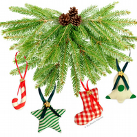 6 FABRIC Handmade Christmas Tree Decorations EASY Paper Sewing PATTERN & Instr.