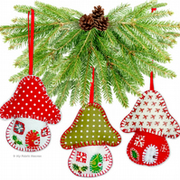 Felt Toadstool House Christmas Decoration EASY Paper Sewing PATTERN & Instruct.