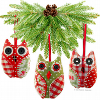 OWL Christmas Tree Decoration Paper Sewing PATTERN & Full Easy Instructions