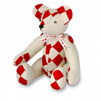 "14"" Patchwork Teddy Bear Soft Toy Paper Sewing PATTERN & Easy Instructions"