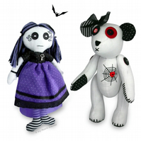 2 X Paper Sewing PATTERNS Goth Rag Doll & Gothic Teddy Bear & Instructions