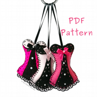 Hanging Corset Ornament PDF Sewing Pattern
