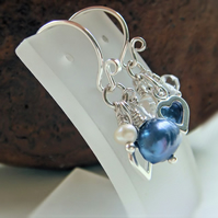 Sterling Silver Blue Pearl Gemstone Cluster Earrings Christmas Gift Jewellery