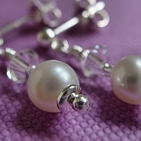 AA White Cultured Pearl Earrings, Sterling Silver, Christmas Gift Jewellery UK