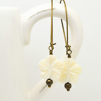 Creamy White Flower Earrings Freshwater Mother of Pearl Long Bronze Wires Gift