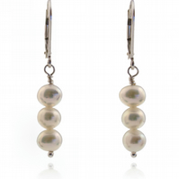 Simple white pearl drop earrings AA 6mm freshwater, sterling silver lever backs