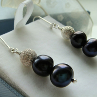 AA 9mm Black Pearl Earrings Pure Sterling Silver on Lever back, Gift Jewellery