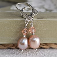 Oyster Pink AA 7mm Freshwater Pearl Earrings All Real 925 Sterling Silver