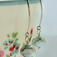 Powder Blue Freshwater Pearl Earrings on Long Angled All Sterling Silver