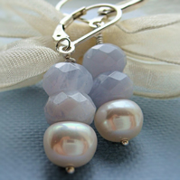 Blue Lace Agate Earrings AA 9mm White Cultured Pearls Sterling Silver Gift Her