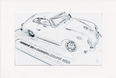 SALE - Black & White 1959 Porsche Car Image - Greetings Card - Photo Print