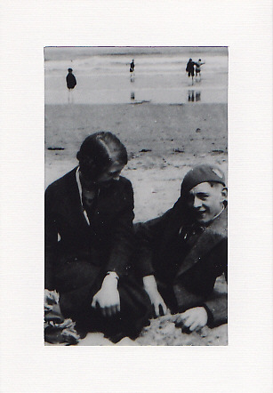 SALE - Boy & Girl On Beach Image - Greetings Card or Notelet - Old Photo Print