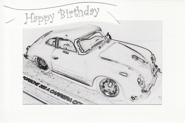 SALE - Porsche Image - Happy Birthday Card or Notelet - Photo Print